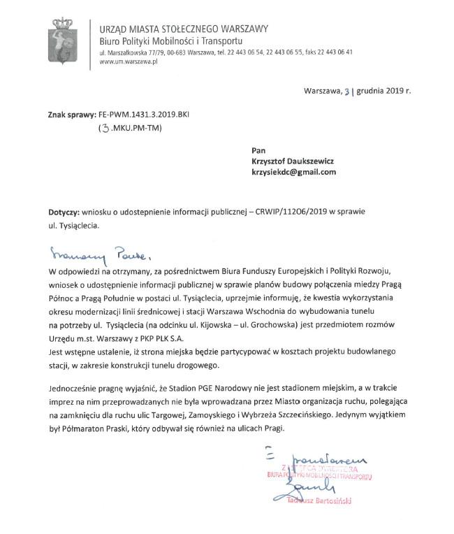Pismo z Biura Polityki Mobilności i Transportu z dnia 03.12.2019