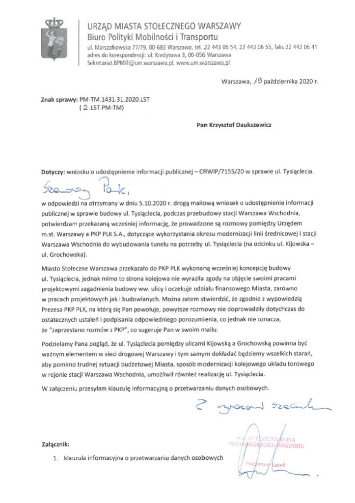 Pismo z Biura Polityki Mobilności i Transportu z dnia 19.10.2020