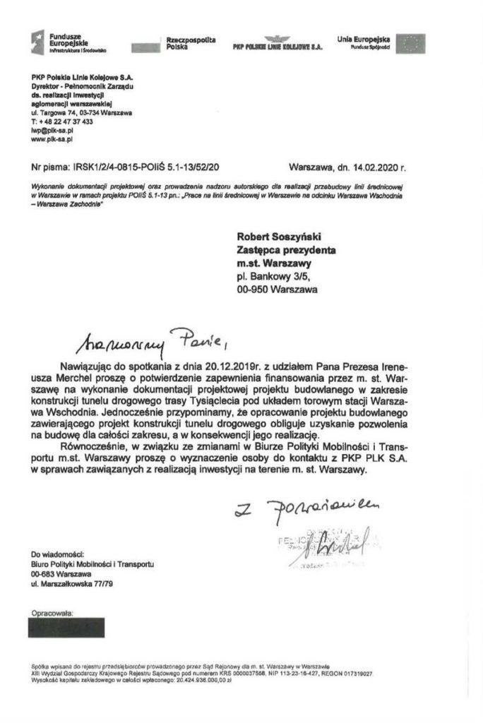 Pismo PKP PLK z dnia 14.02.2020