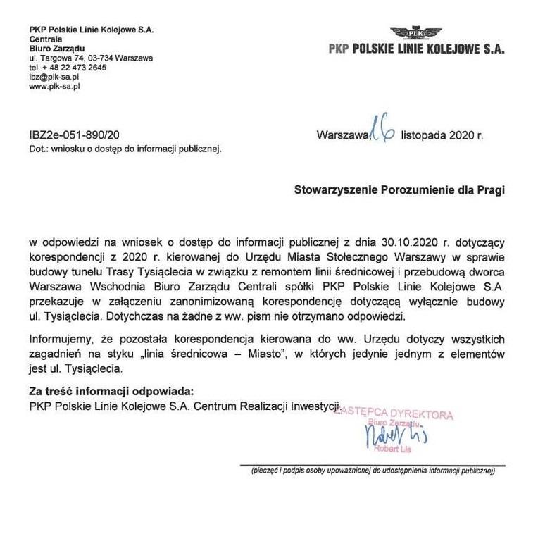 Pismo z PKP PLK z dnia 16.11.2020