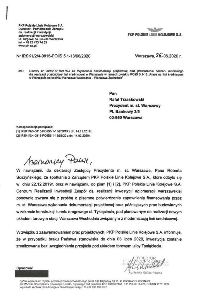 Pismo z PKP PLK z dnia 26.06.2020