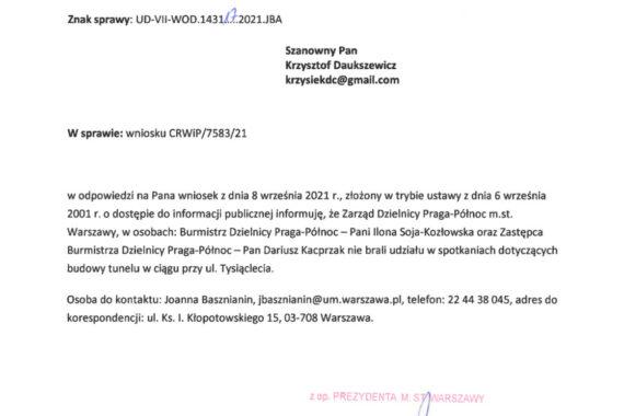 Wiceburmistrz Dariusz Kacprzak i Burmistrzyni Iloja Soja-Kozłowska nie są zainteresowani tunelem za dworcem Wschodnim
